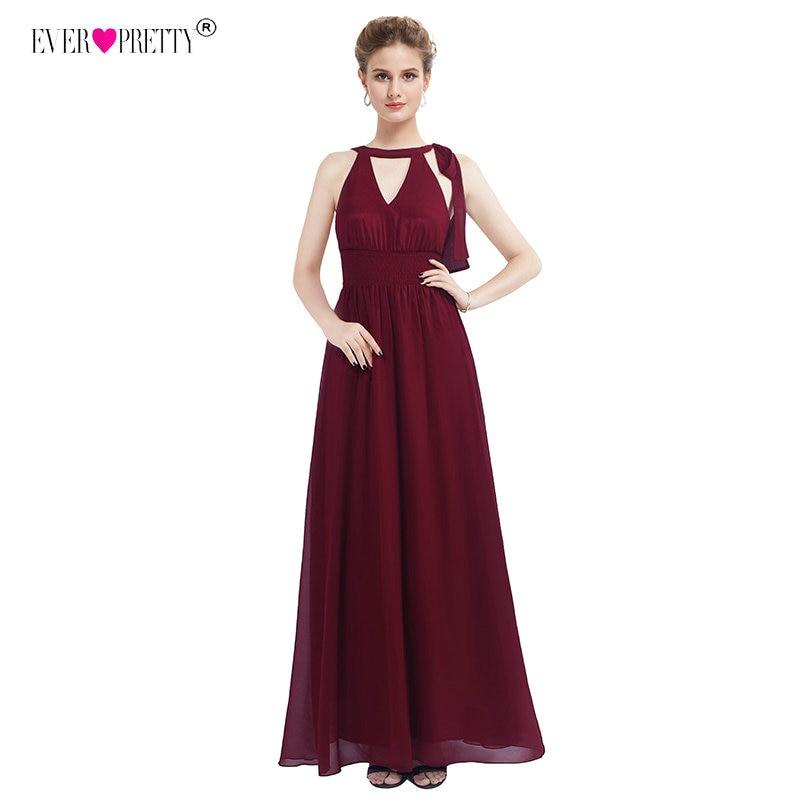 Новый Воротник хомутиком вечерние платья v-образный вырез без рукавов шифоновое официальное платье Ever Pretty EZ07656BD бордовое элегантное женско...