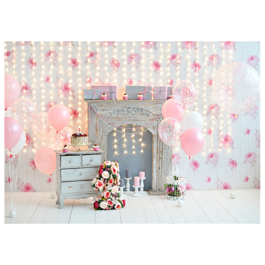 7x5ft 2.1x1.5m Pink Background For Birthday Photography