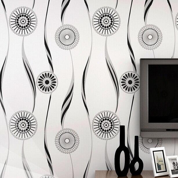 Compra negro flor blanca del papel pintado online al por - Papel pared blanco ...