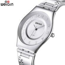 WEIQIN Mujeres de Plata Relojes Montre Femme reloj Resistente Al Agua de Acero Inoxidable de Lujo de Alta Calidad 2016 Vestido de La Mujer Relojes De Pulsera