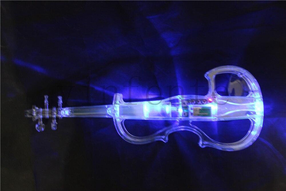 Colorful blue green transparent electric violin crystal violin 2#