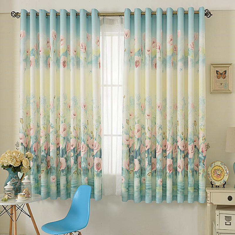 1 Pc Curtain And 1 Pc Tulle Peony Luxury Window Curtains: Chinese Printed Floral Short Blackout Curtain For Living
