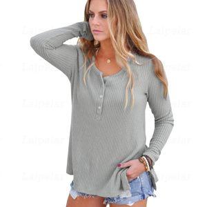 Весенне-осенний свитер Laipelar, пуловер с боковыми пуговицами спереди, женские вязаные повседневные топы, свитера