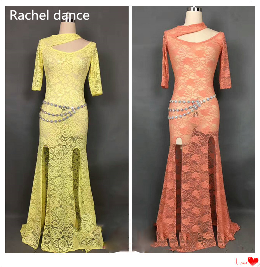 2017 New Profession Garments Belly Dance Set V-Collar Short Sleeves Lrregular Skirt For Salsa Tango Ballroom Competition Costume