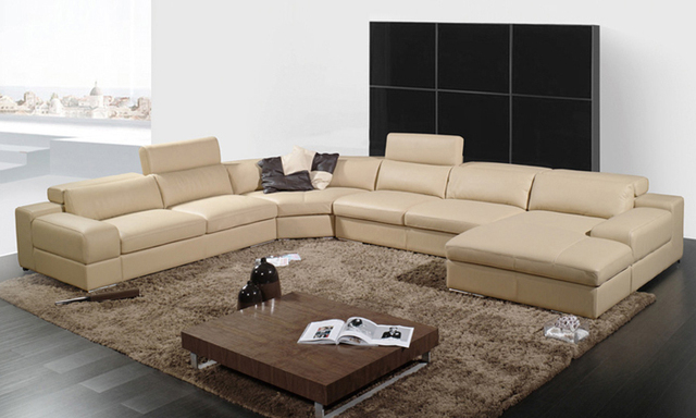 Free Shipping 2017 Latest House Designs Moden Leather Sofa Large Size U Shaped Corner Best