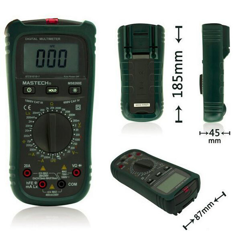 MASTECH MS8260E Digital Multimeter  LCR Meter AC DC Voltage Current Tester w/hFE Test & LCD Backlight Meter Multimetro bside adm04 lcd digital multimeter mini pocket 2000 counts dmm dc ac voltage current meter diode tester auto ranging multimetro