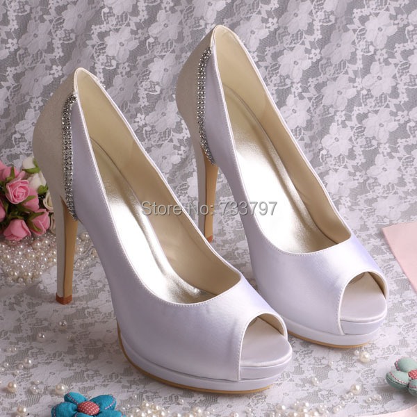 New Model Platform Heels High font b Women s b font Color Blocking Crystal Shoes White