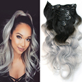 Ombre Brazilian Clip In Human Hair Extensions Body Wave Silver Grey Clip In 120G 1B/gray Ombre Clip In Hair Extensions Full Head