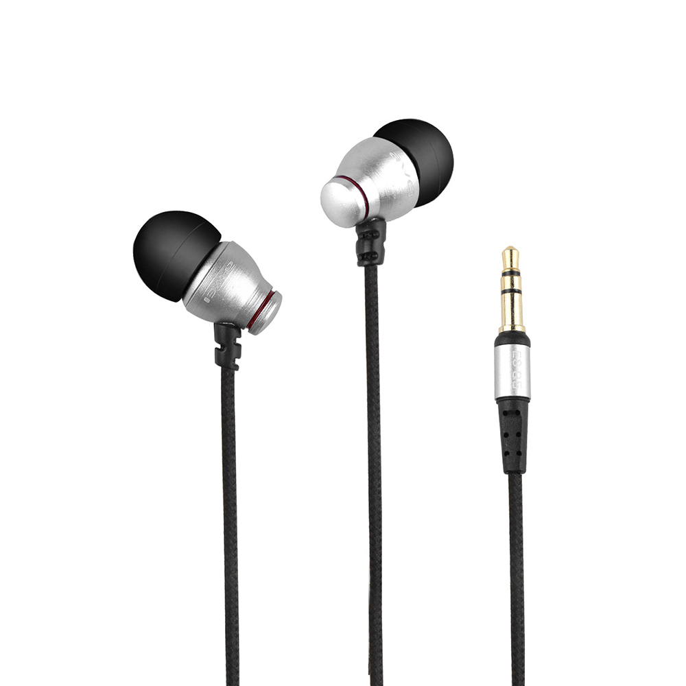 AWEI ES-Q8 3.5MM Plug Stereo Music Deep Bass Stainless Steel Vibrate Earphones Drive-By-Wire Earbuds W/ Integrated Microphone