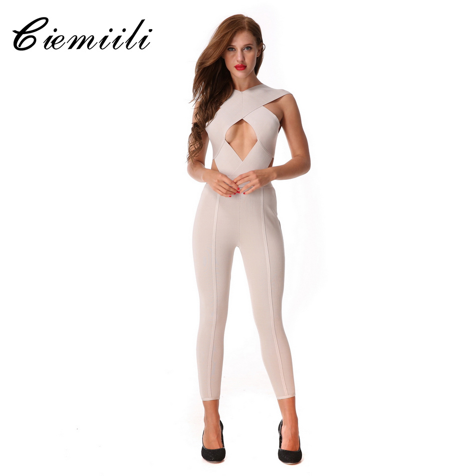 CIEMIILI 2020 Sexy Women Newest Bandage Jumpsuits Rompers Cross Halter Evening Party Bodycon Hollow Out Club Wear Free Shipping