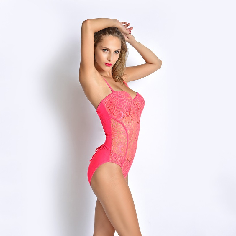 c85dd2f011c One Piece Woman Swimsuit Pink Clairvoyant Swimwear Sexy Cute Back Lacing  Bathing Suit Fashion S to XXL Size Free Shipping WS345-in One-Piece Suits  from ...
