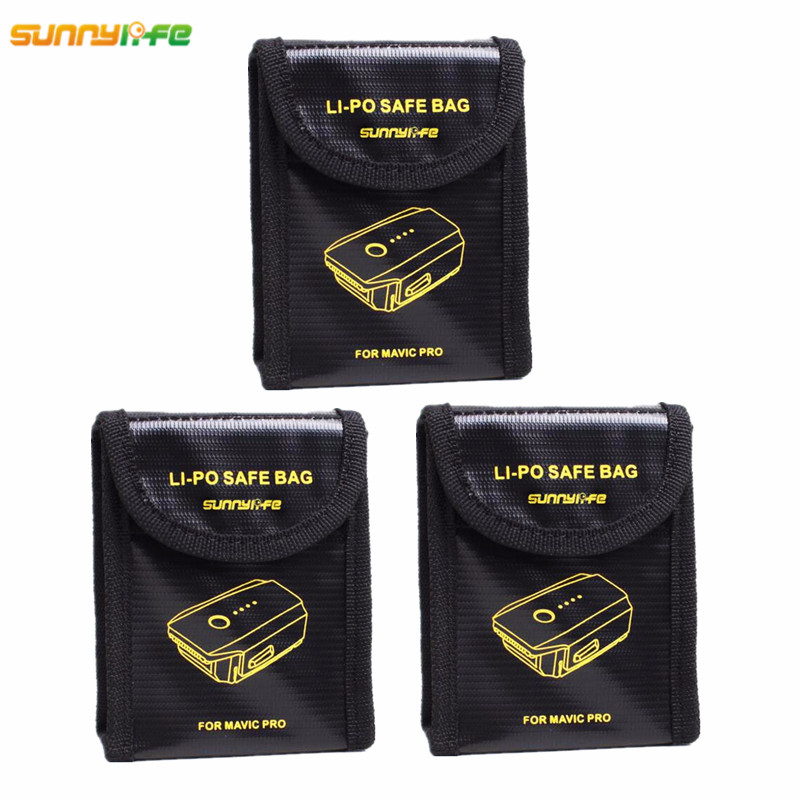 3pcs For DJI Mavic PRO Lipo Battery Explosion-proof Safe Bag For DJI Mavic Pro Battery Fireproof Storage Box Protection Case