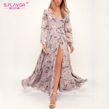 S. FLAVOR Women Bohemian Casual Long Dress Elegant Short Sleeve Retro Party Vestidos Female Floral Printed Maxi Dress(China)