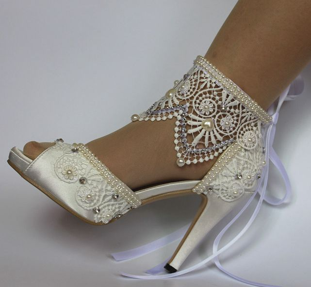 bb60084e0e03 11cm heel ivory wedding shoes brides peep open toes sexy laces ribbons  wedding shoes bridal bridesmaid party shoe HS035