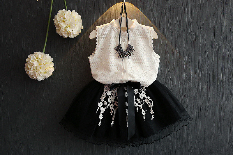 2017 Fashion Summer Girls Clothing Sets Sleeveless T-shirt+yarn tutu Skirts Children Kids Girl Clothes 2pcs Set1526263332