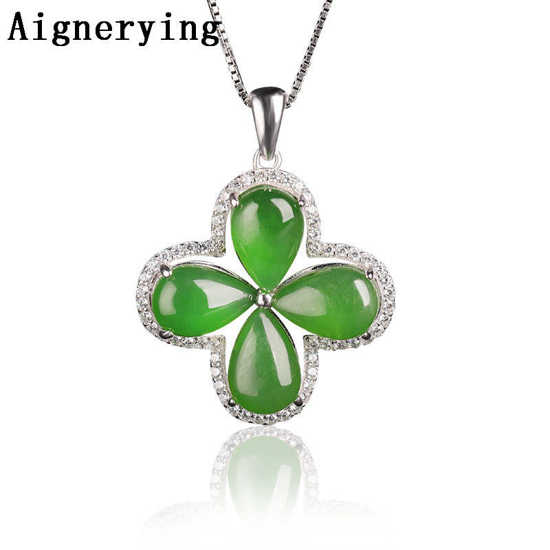 Natural Green Jade Hollow Pendant Thread Chocker Necklace jewelry String Vintage inlaid Four-leaf clover Gift Box Certificate
