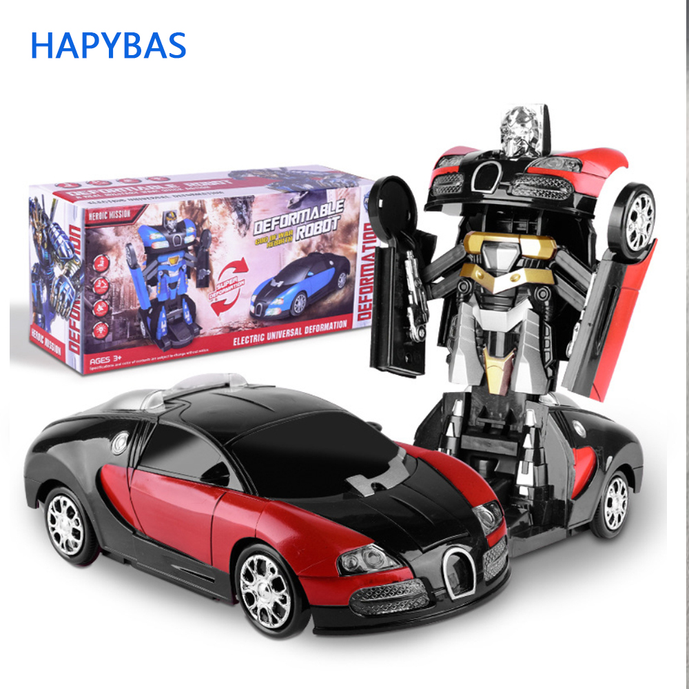 Electronic Deformation Music Car Toys Cool Light Transformer Robot Car Toys Univeral Wheel Glowing Kids Children Gift
