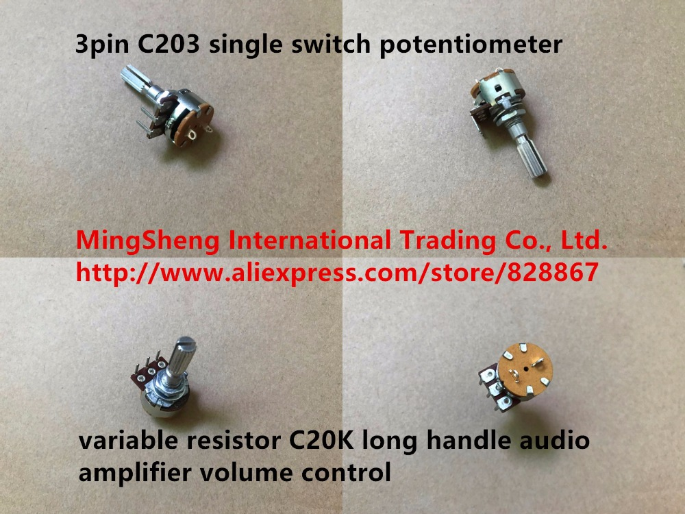 Original new 100% 3pin C203 single switch potentiometer variable resistor C20K long handle audio amplifier volume control image