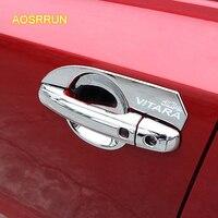AOSRRUN ABS płyta ochrona post na zewnątrz drzwi klamka drzwi miska miska Obejmuje akcesoria Samochodowe Dla Suzuki vitara 2016 2017