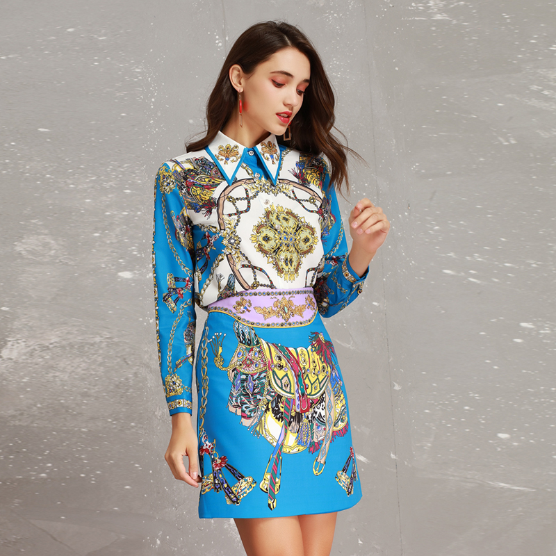High Quality New 2019 Spring Runway Designer Print Long Sleeve Beads Turn down Collar Blouse + Skirt Suits Women Twinsets-in Women's Sets from Women's Clothing    2
