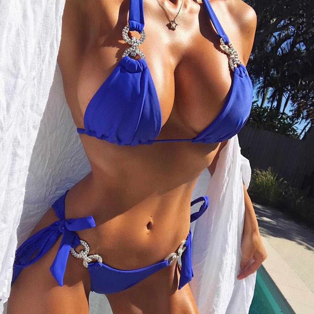 Brazilian Nude Photos us $6.99 30% off|bikini diamond swimsuit crystal women swimwear nude  bikinis brazilian rhinestone beachwear push up bikini 2018 bandage  biquini-in