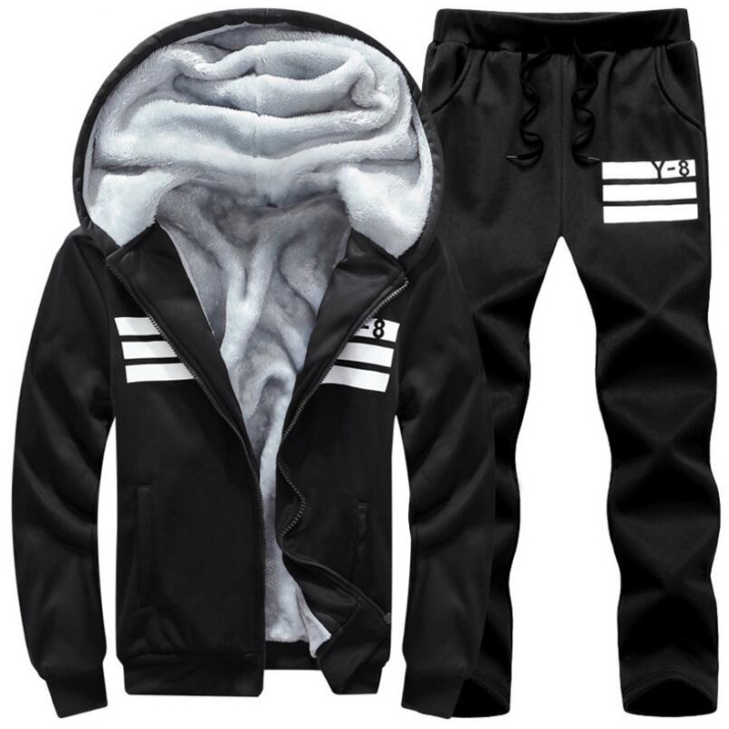 Large Size M~7XL 8XL 9XL Winter Tracksuits Men Set Thicken Fleece Hoodies+Pants Suit Warm Casual Men's Coats Hoodie Sportsuit