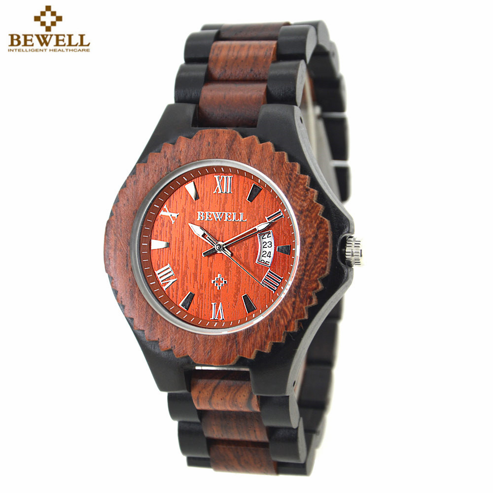 BEWELL 2018 New Arrival Men's Wood Watch Men Calendar Quartz Wooden Watch Brand Luxury Men s Sport Watches Montre Homme 129A new arrival longbo 3009 fashion men s quarzt watches leather strap waterproof calendar luxury sport watch men male s wrist watch