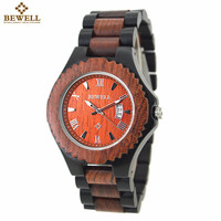 BEWELL 2018 New Arrival Men's Wood Watch Men Calendar Quartz Wooden Watch Brand Luxury Men s Sport Watches Montre Homme 129A