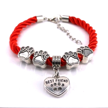 New Hot Sale Fashion Hand-Woven Rope Chain rope Bracelets dog paw best friend Charms Bracelets Jewelry  for women XY160480