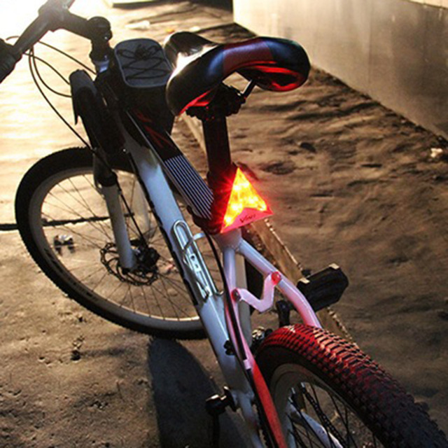 Waterproof Leadbike Cycling Triangle Tail Light Bicycle Safety Warning Lamp Mountain Bike Bicycle Supplies Red Flash Lights