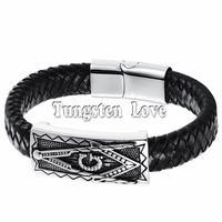Vintage Mens Freemasonry Masonic Mason Black PU Leather Bracelet Cuff Braided Charm Bracelet 8 3 Inch