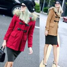 BURDULLY 2017 Fur Collar Woolen Coat Wool Windbreaker font b Women b font Cashmere Black Coat