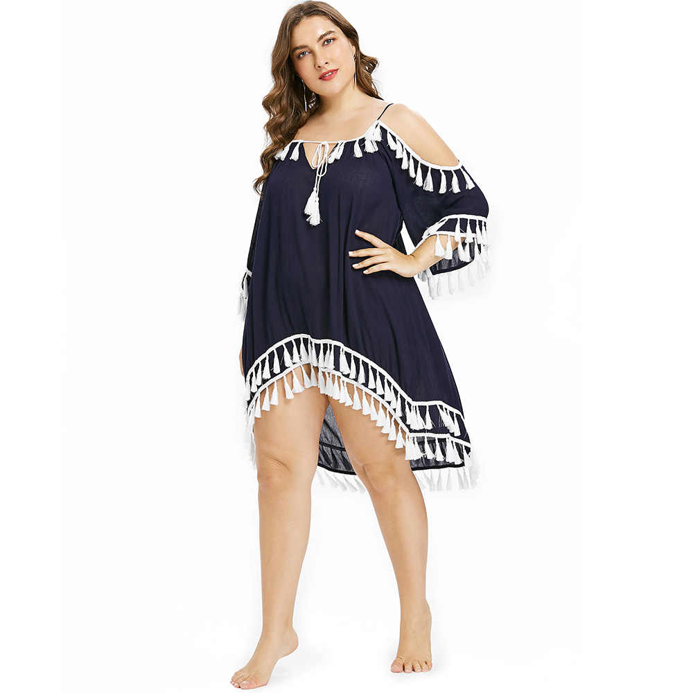 eb705c8079d93 ... AZULINA Plus Size Women Cover Up Tassel High Low Beach Cover Up Tie  Front CoverUp Bell ...