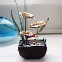 Decorative Indoor Water Fountains Resin Crafts Gifts Feng Shui Wheel Desktop Water Fountain For Home Office