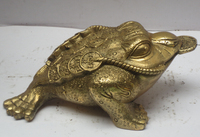 Home Decoration Feng Shui Chinese brass Carved Frog Statue Toad Scupture