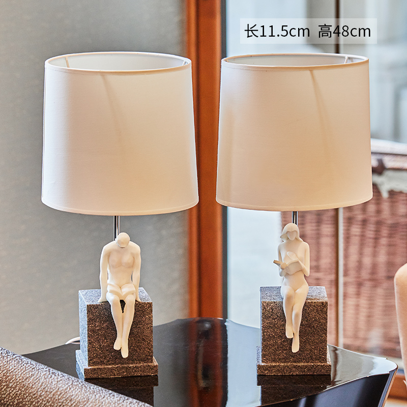 Luxury Resin Table Lamp Living Room Couple Sitting On Sandstone Reading Book Bedroom Bedside Table Lights Fabric Home LightingLuxury Resin Table Lamp Living Room Couple Sitting On Sandstone Reading Book Bedroom Bedside Table Lights Fabric Home Lighting