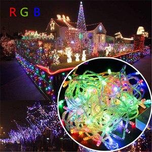 Image 2 - 10 m 100 led 문자열 갈 랜드 크리스마스 ac110v ac220v 나무 요정 빛 luce 방수 홈 가든 파티 야외 휴일 장식