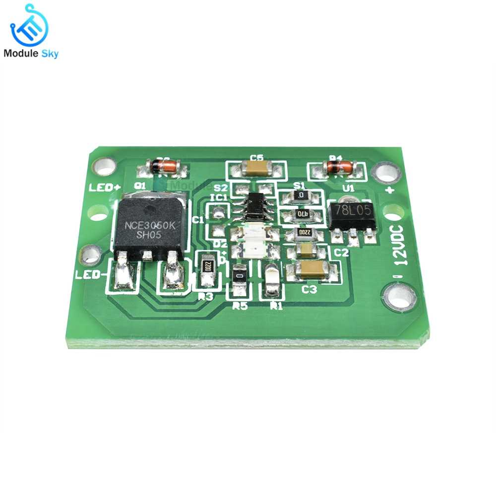12V Capacitive Touch Switch Sensor Module Push Button Touching Key Module Jog Latch With Relay DC 6-20V 3A