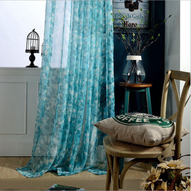 Modern Tulle Curtains For Living Room Leaves Sheer Curtain For Bedroom Voile Kitchen Window Curtains Fabric Blinds Drap GT0113