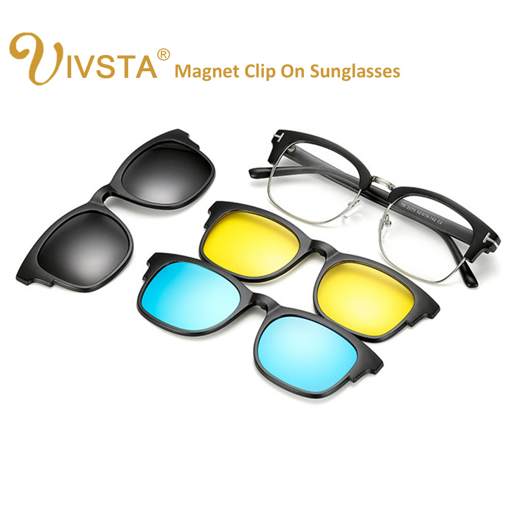 298916b05b IVSTA TF 2273 Magnetic Sunglasses Men Polarized Lenses Clip On Glasses  Clips Magnet Prescription Myopia Spectacle Frame Fashion -in Sunglasses  from Apparel ...