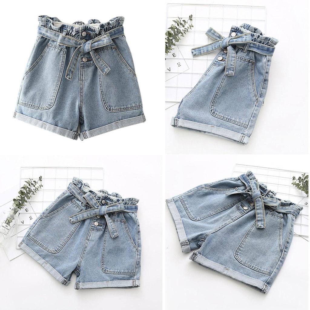 2020 Denim Shorts Women Bow Butto Big Pocket Loose Casual Cotton Shorts Jeans Spodenki Damskie Short Feminino Pantalones Cortos
