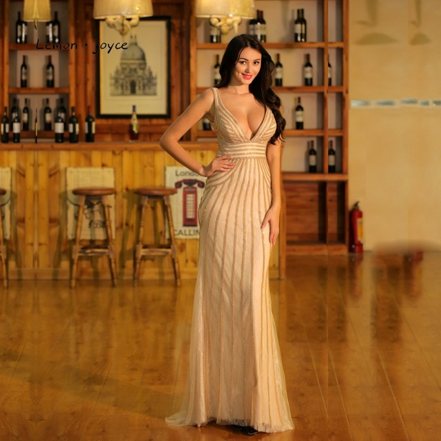 05a920a5634 Champagne Evening Dresses Long 2019 for Women Elegant Sexy Deep V-neck  Backless Beading Mermaid Prom Party Gowns Plus Size
