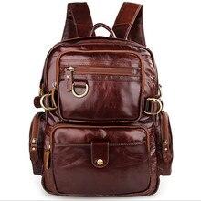 Men Vintage Genuine Leather Bag Fashion Backpack Multi Pockets Woman Travel Shoulder Bag Fashion Preppy Style Men's Backpacks