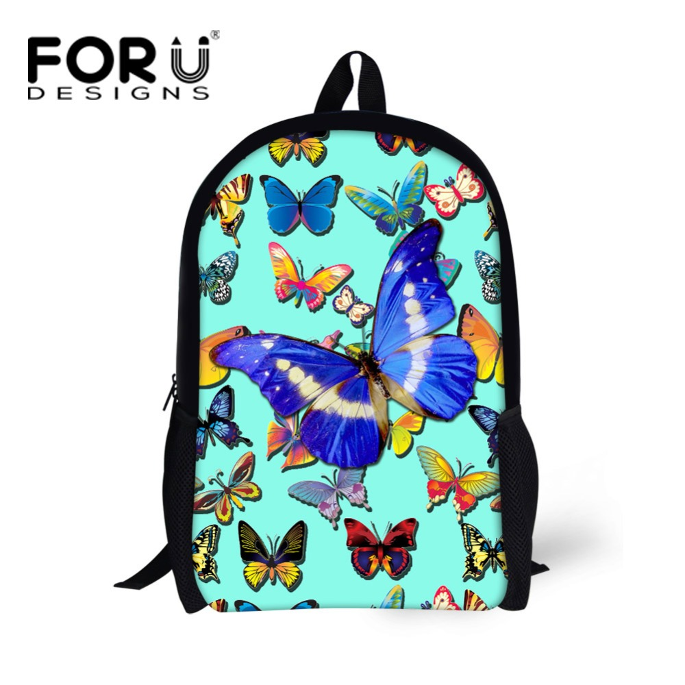 FORUDESIGNS 3D Butterfly Print School Backpacks for Children Girls Casual Kids Rucksack High Quality Teenager Back Pack Mochila