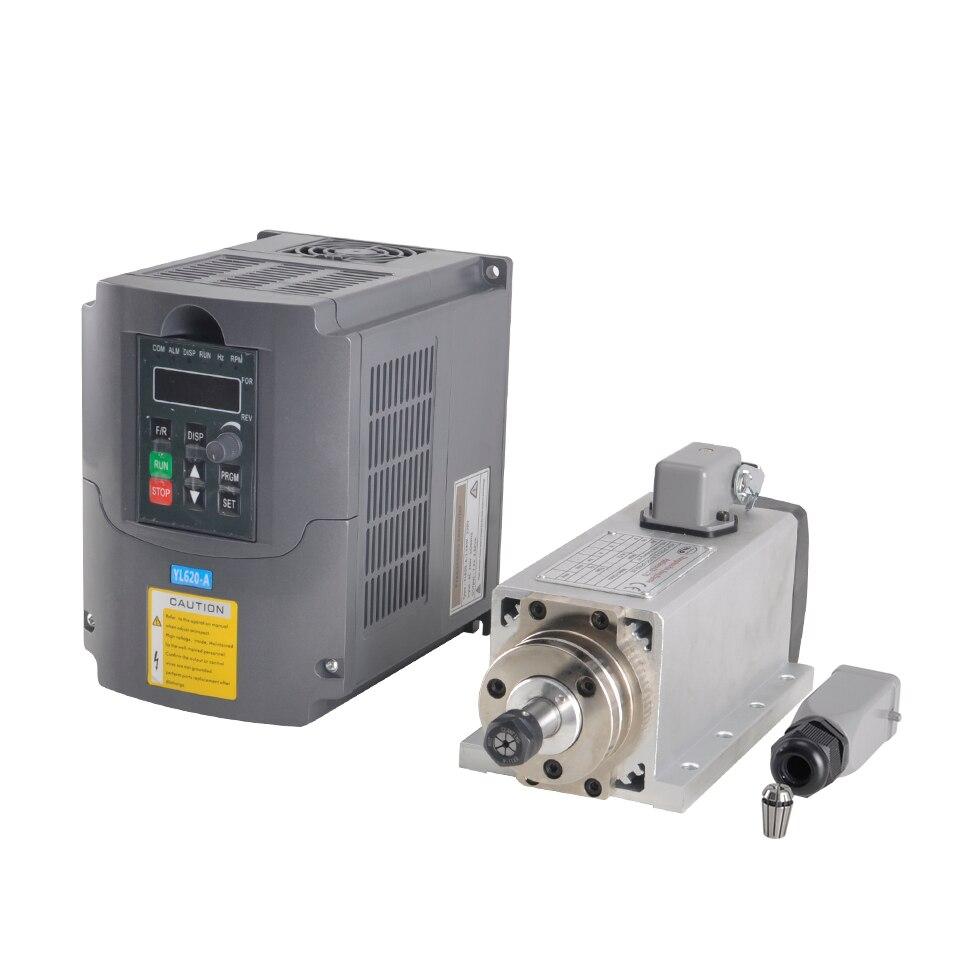Air Cooled Spindle 800W 220V Square Spindle ER11 Milling Motor 1 5KW VFD Inverter Frequency Converter
