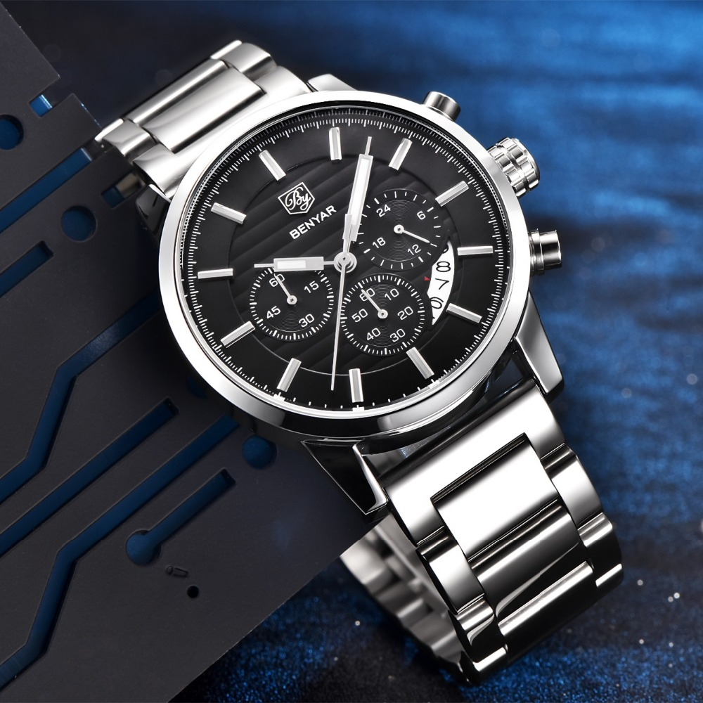 BENYAR Fashion Stainless Steel Chronograph Sports Mens Watches Top Brand Luxury Quartz Business Watch Clock Relogio Masculino Multan