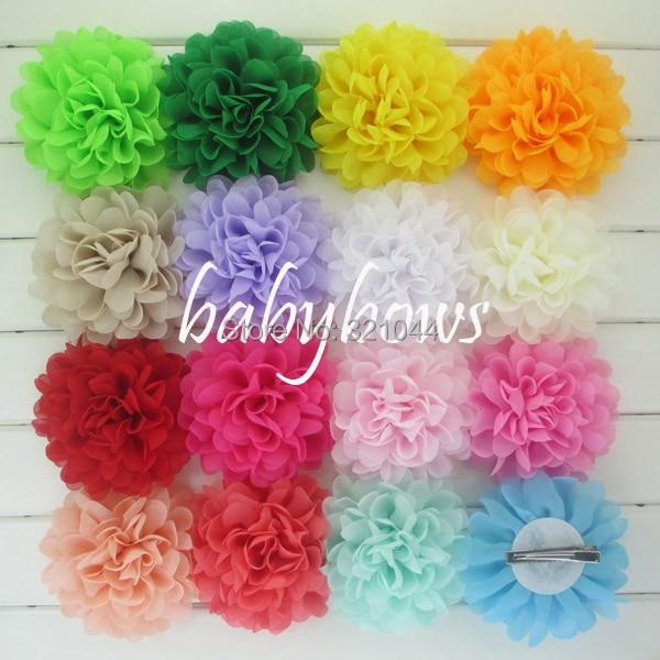 Babymatch 500pcslot Wholesale Chiffon Flower Silk Hair Flowers With