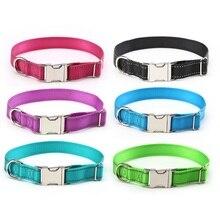 Фотография Reflective Dog Collar Nylon durable Night safety pet Collars with Adjustable Metal Buckle dog neck For Small Medium Large dogs