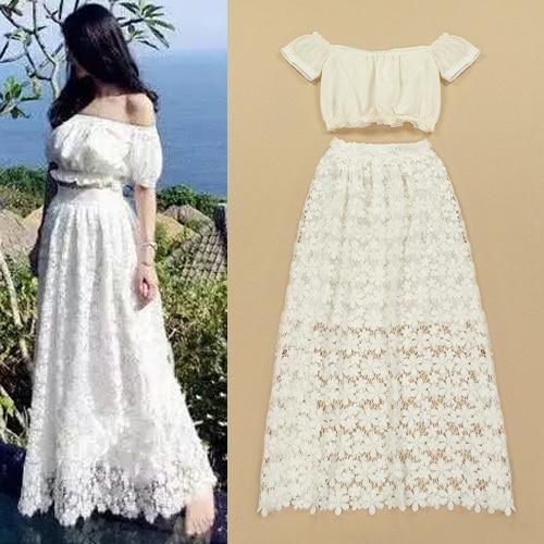 crop top and high waist skirts set summer clothing floor length ...