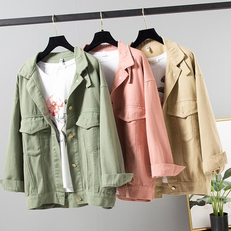 Denim Jacket Korean Female Jacket Classic Light pink Denim Coat Relaxed Fit Tops Long Sleeve Jean Outwear Denim Jacket Women